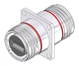 USB-A 2.0 Square Flange Bulkhead - 38999 Style