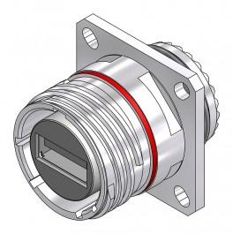 USB-A 2.0 Square Flange Receptacle - 38999 Style
