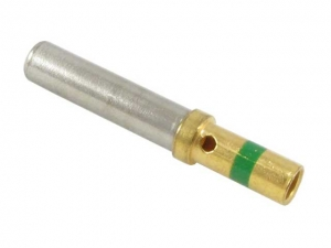 Contact, Electrical, Socket, Gold, Size 16, Wire 14 AWG, Green Band - Click for more info