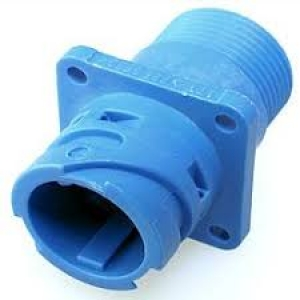 APD Connector, High Power Flanged Receptacle, 1 Way, Blue - Click for more info